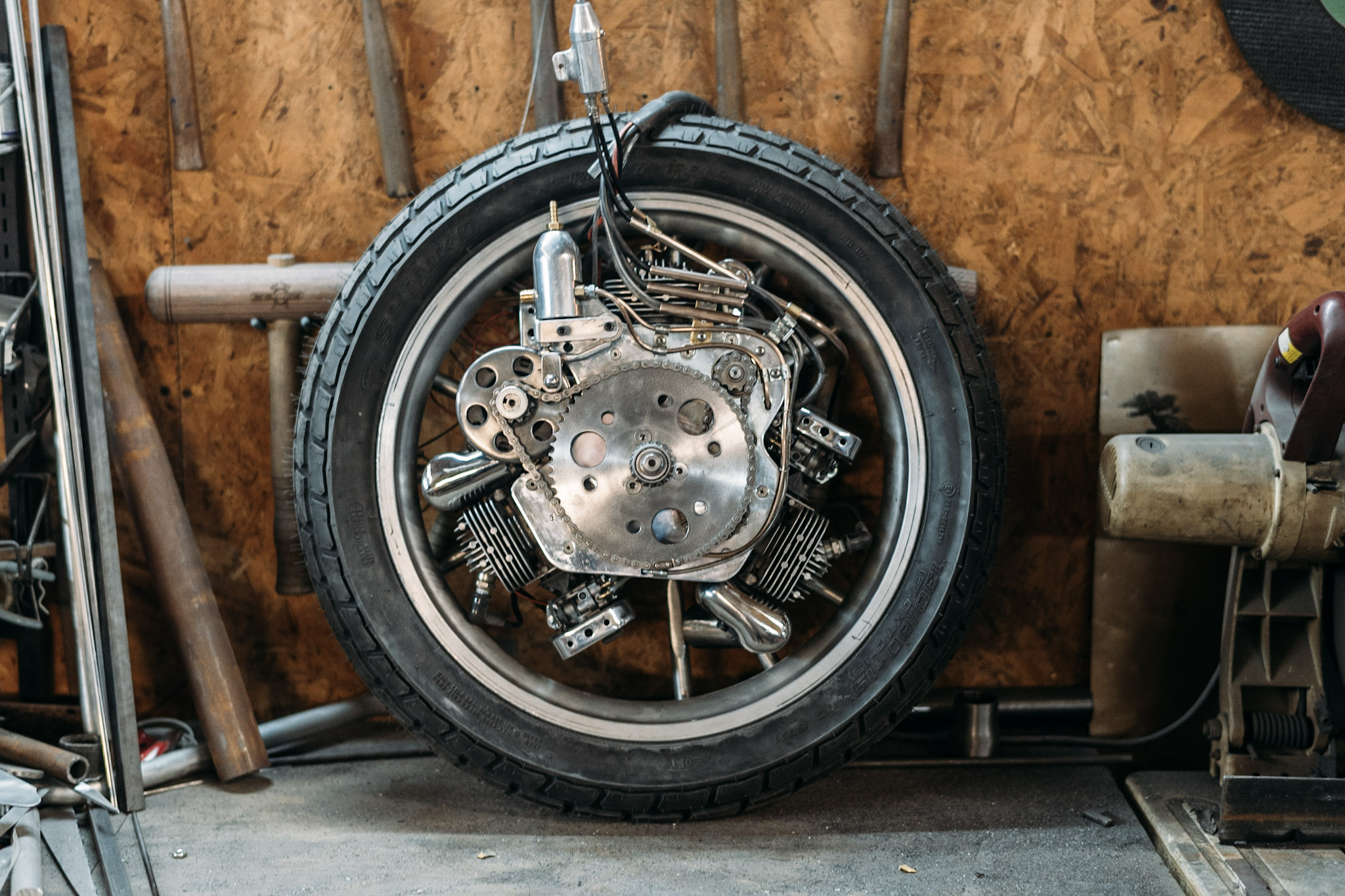 Craig Rodsmith's engine-wheeled custom bike, 'The Killer'