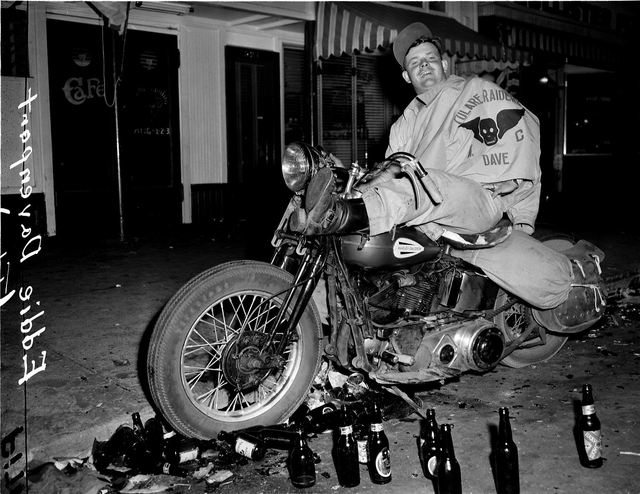 Eddie Davenport on a Harley Davidson at the Hollister Riots in California in 1947