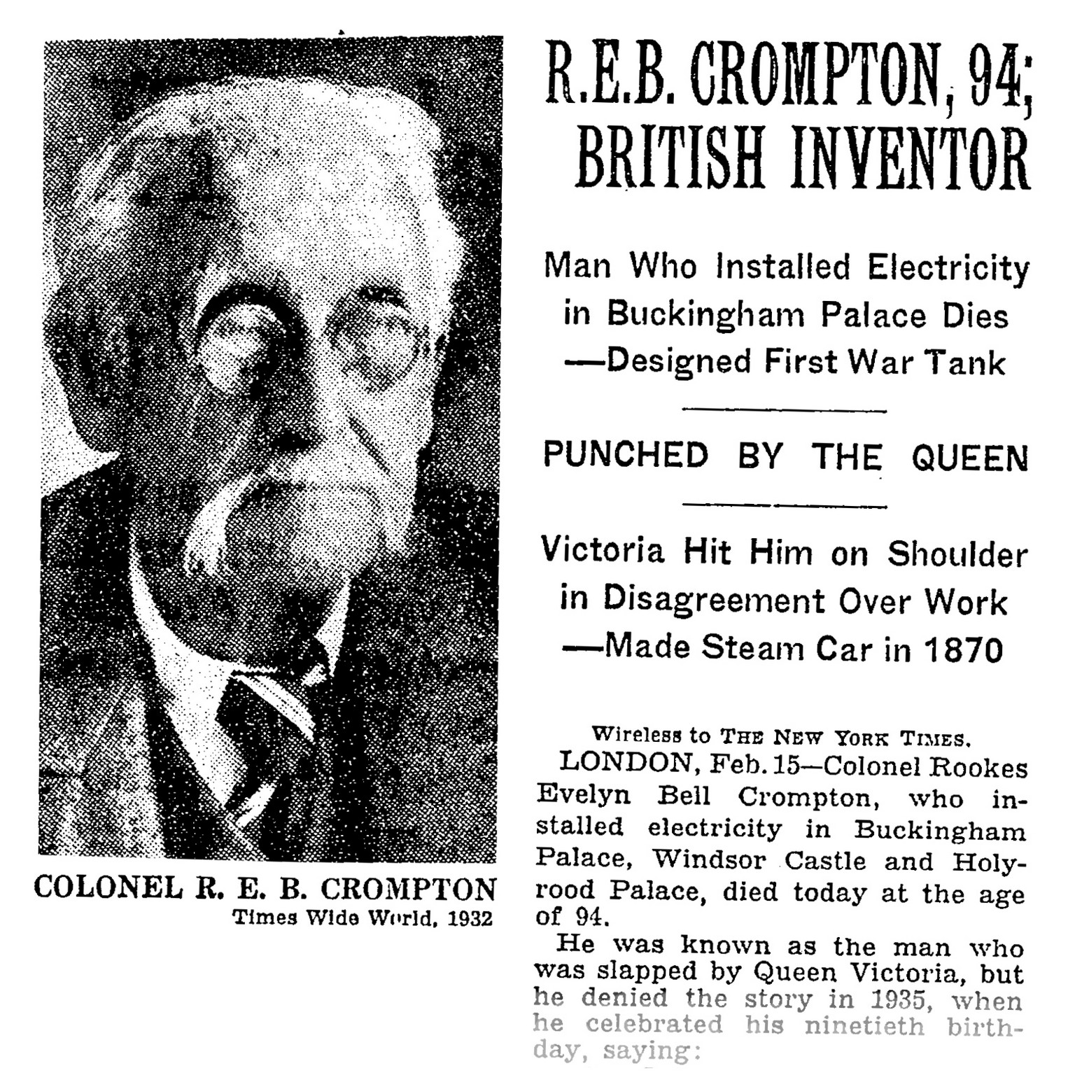 R.E.B Crompton, 94, punched by the Queen!