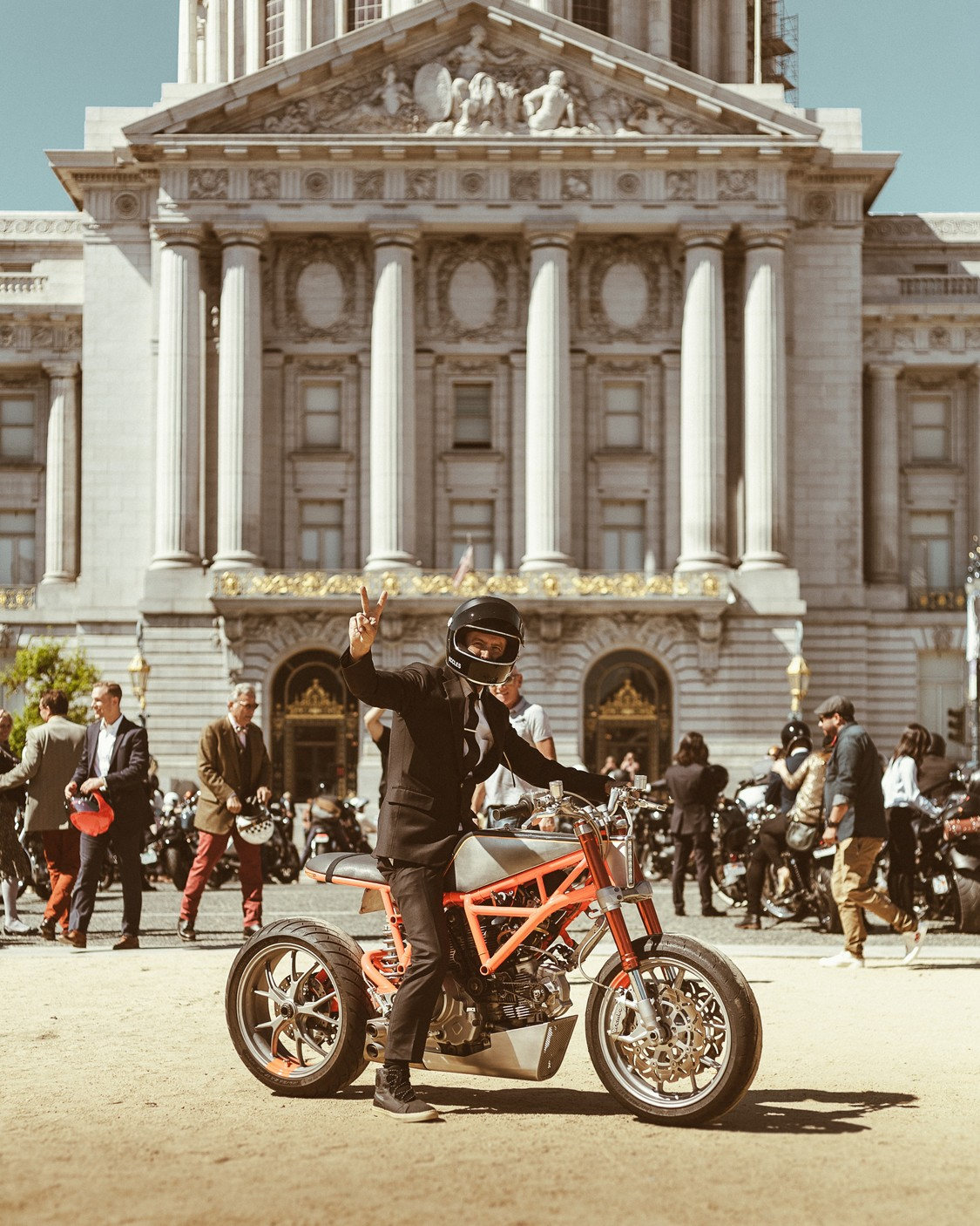 Hugo Eccles from San Francisco's Untitled Motorcycles on his Ducati for the Distinguished Gentleman's Ride