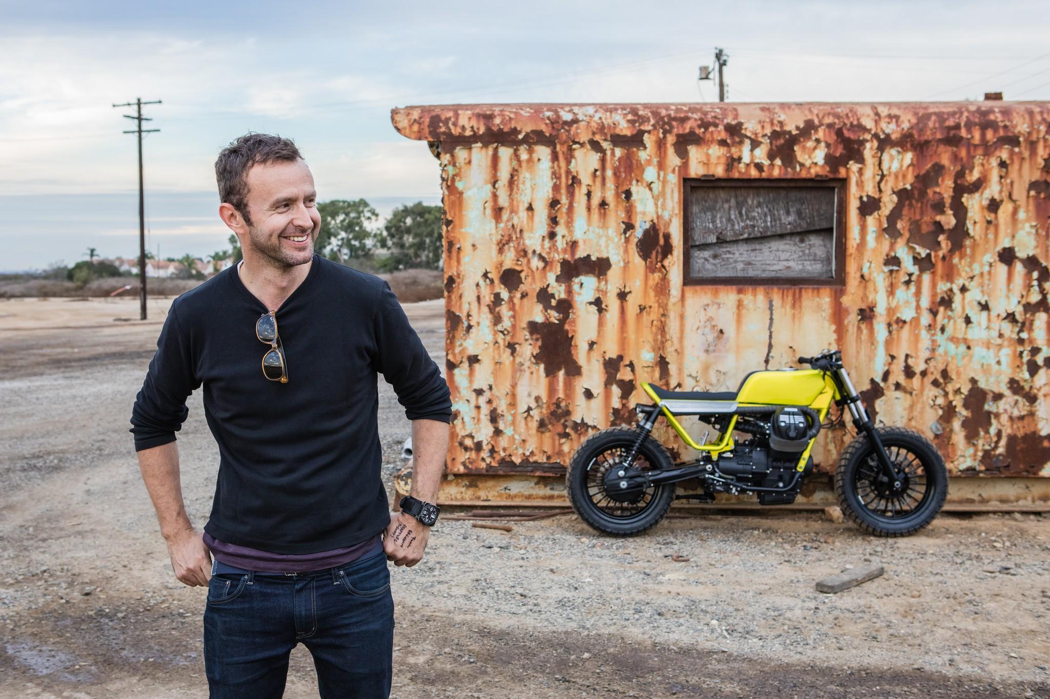 Hugo Eccles from San Francisco's Untitled Motorcycles and his custom Moto Guzzi