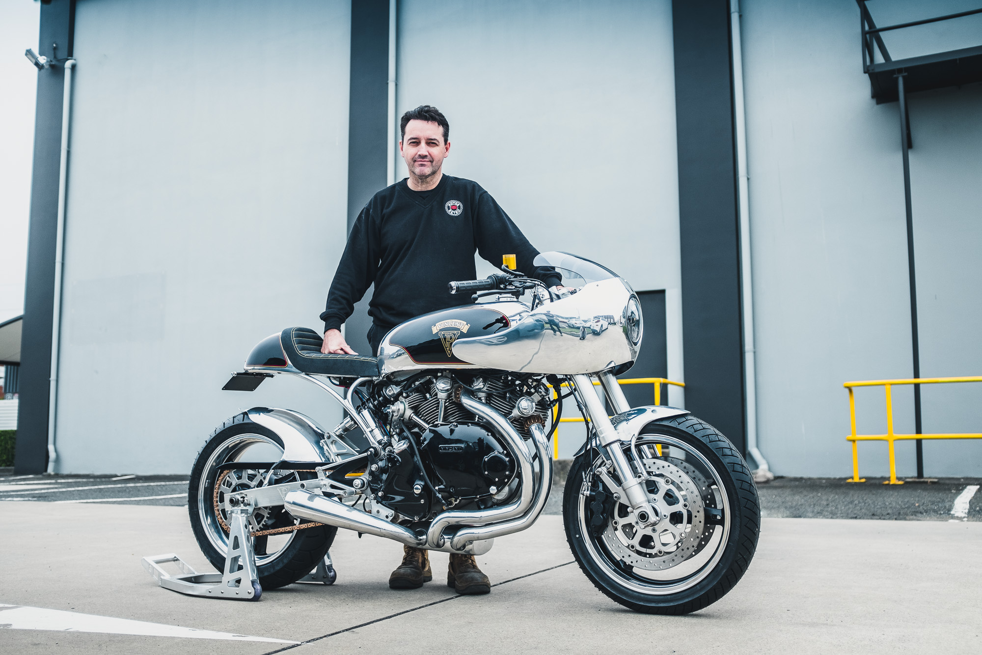 Vaughan Ryan from MotorRetro and the Vincent Black Shadow he recently built for a customer in Sydney