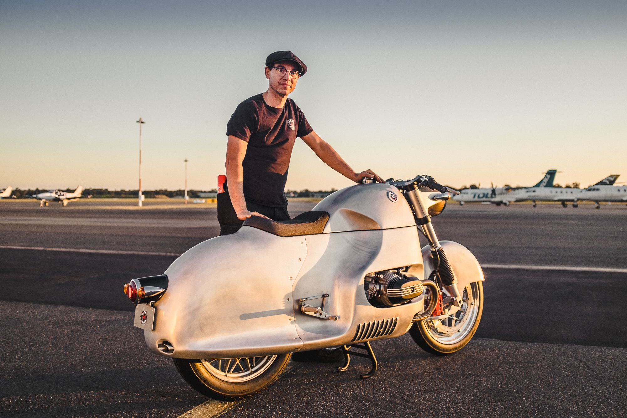 Georgio Rimi from MotorRetro and his 'Aero' BMW R100RS streamliner at Bankstown airport in Sydney