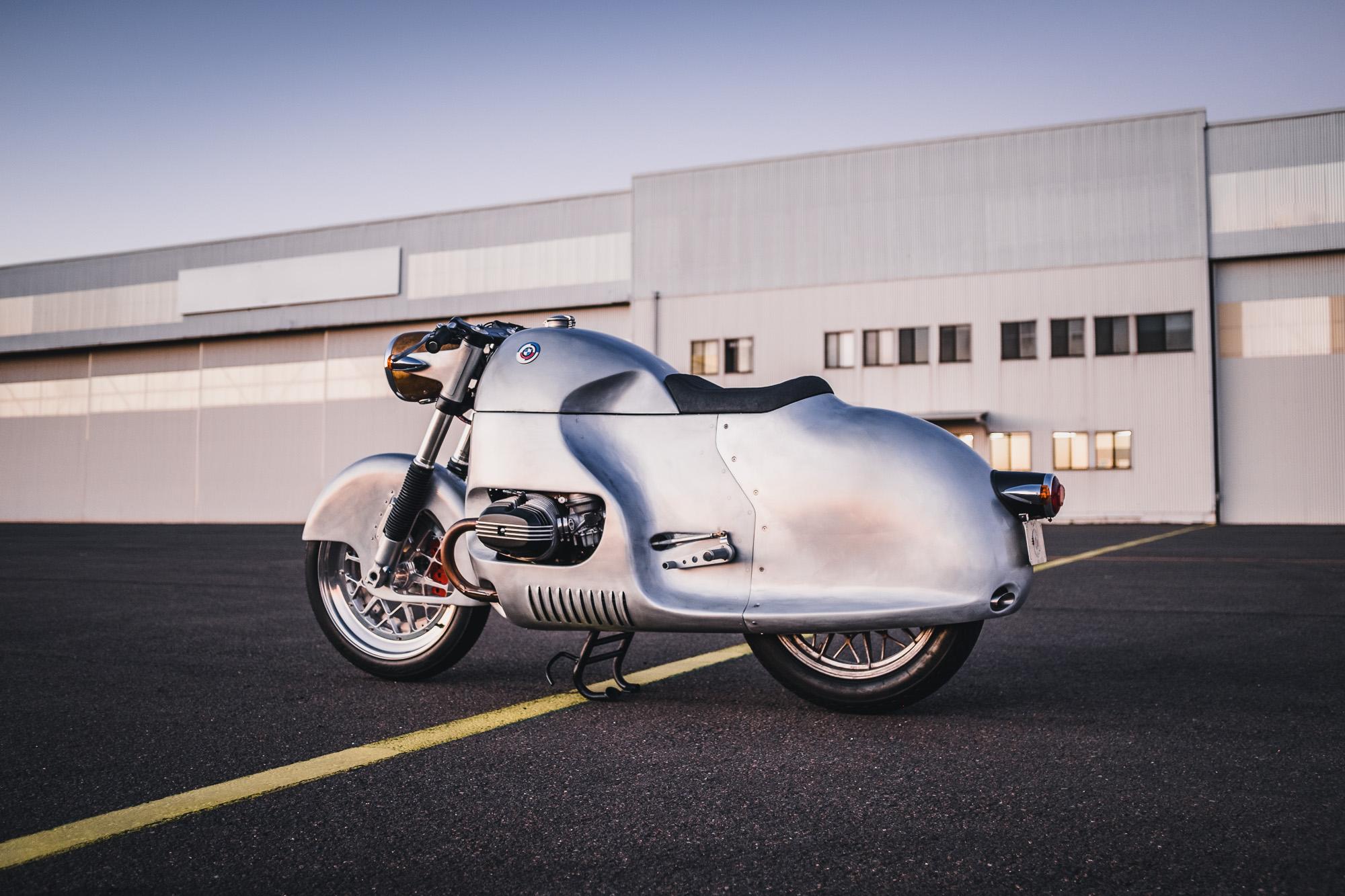 A custom BMW R100RS motorcycle with a full aerodynamic fairing by MotorRetro Sydney