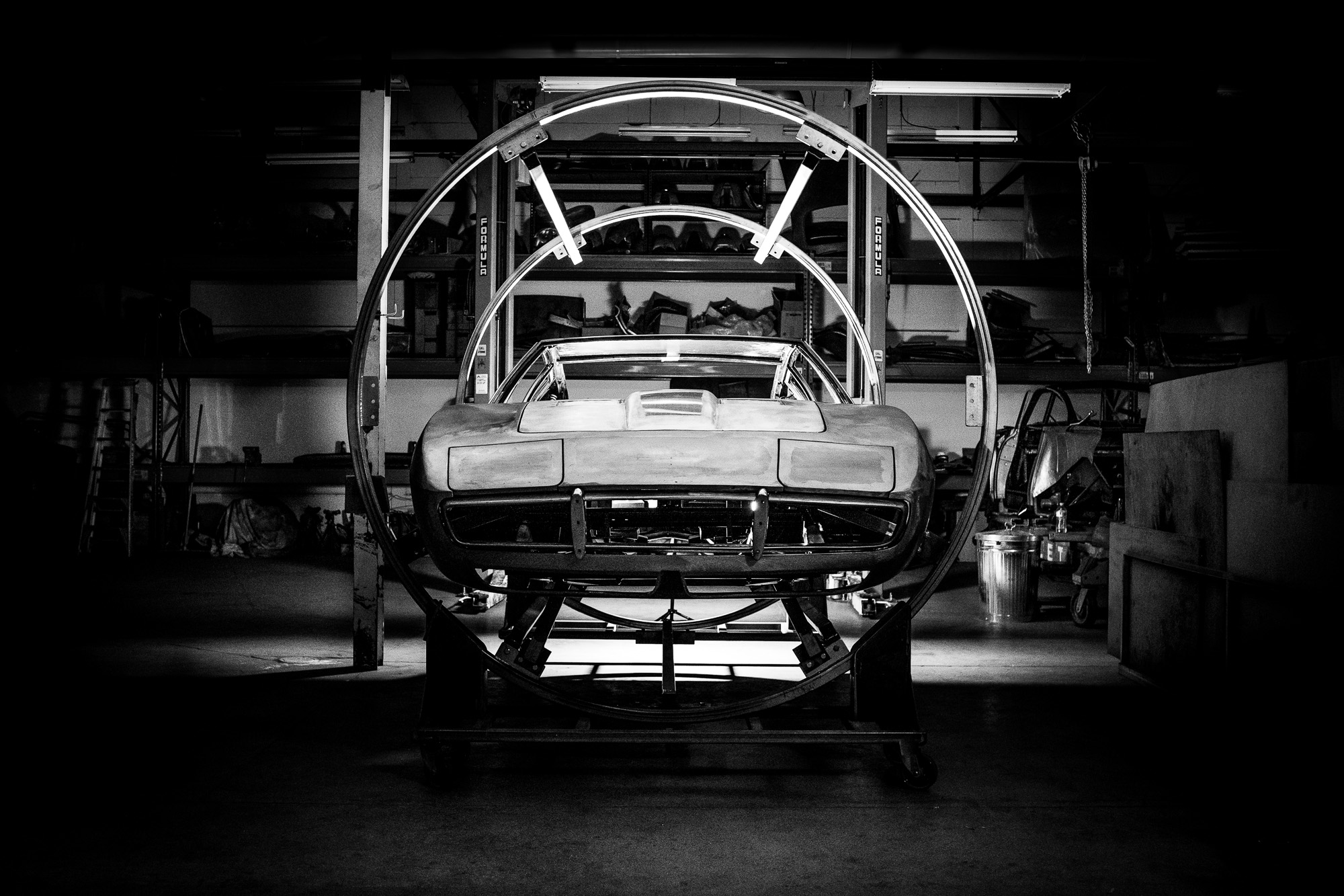 An early '70s Maserati Ghibli sports car undergoing restoration at MotorRetro Sydney