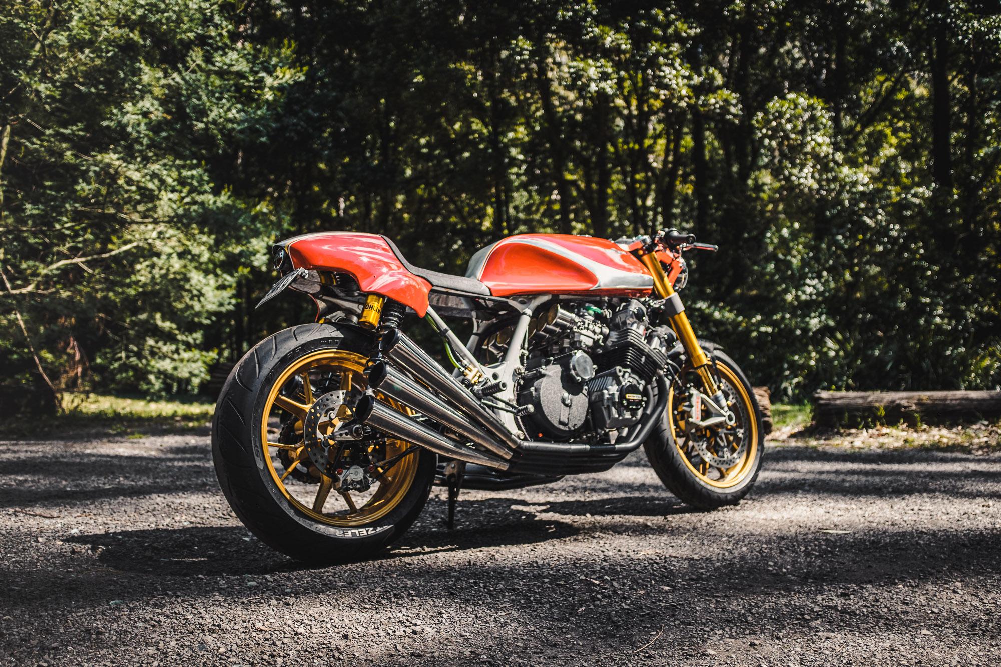 A custom '79 Honda CBX cafe racer motorcycle with custom bodywork by MotorRetro Sydney