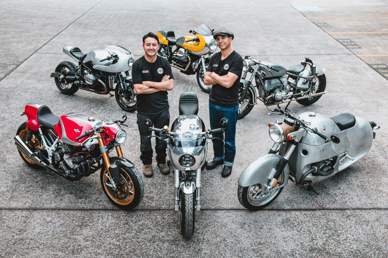 A top-down view of Vaughan & Georgio from Sydney's MotorRetro surrounded by their own custom motorcycles