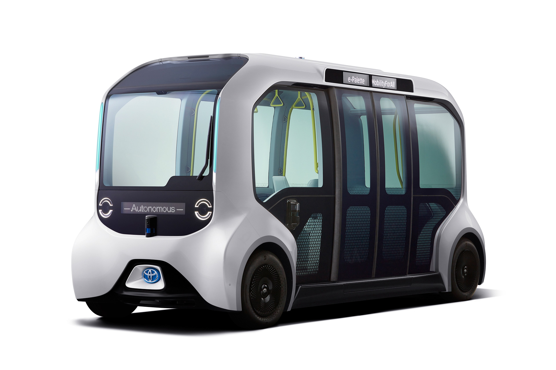 A view of The 2021 Toyota e-Palette electric mini-bus, which includes Honda CASE integration