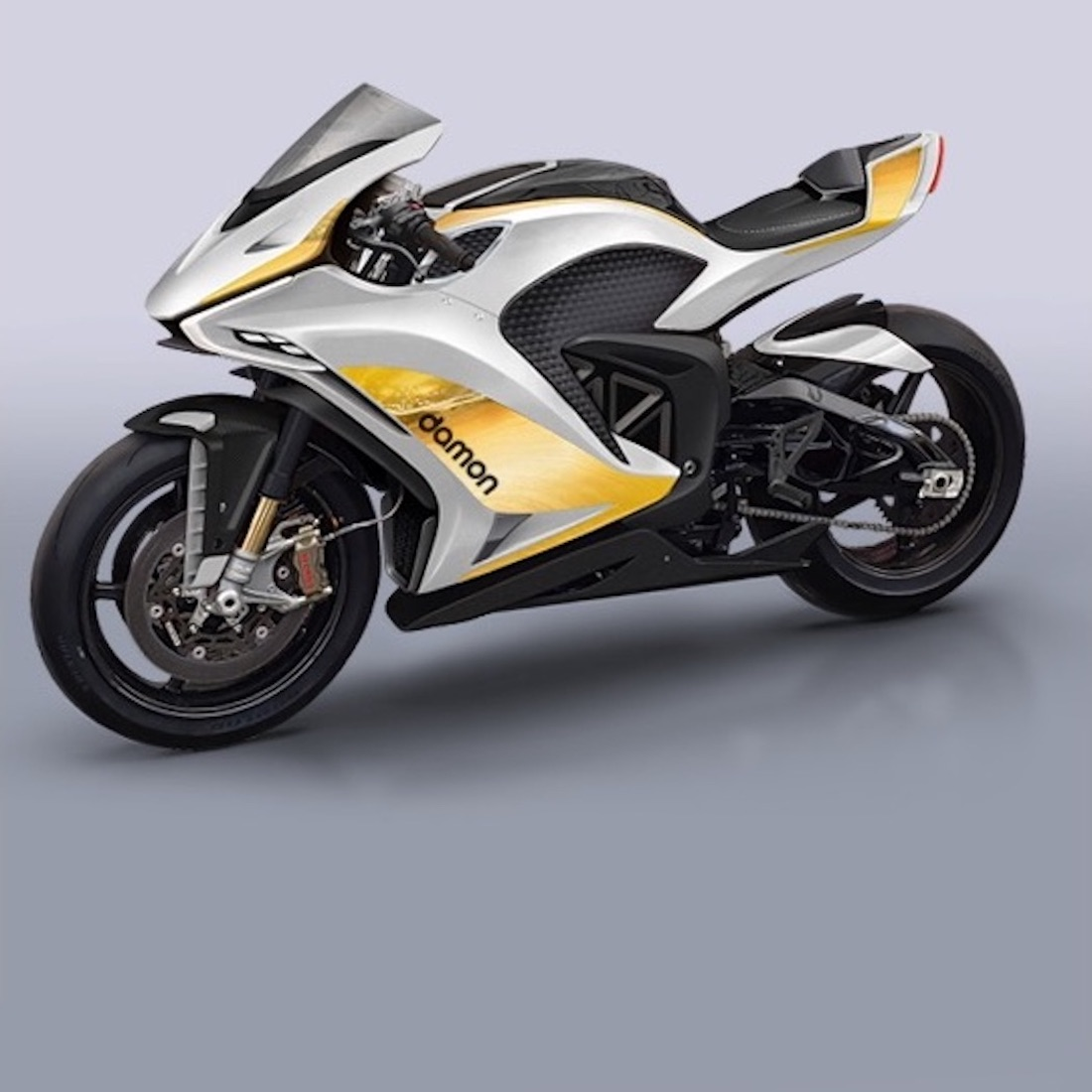 A view of a 2022 Damon HyperSport Premiere electric hyperbike