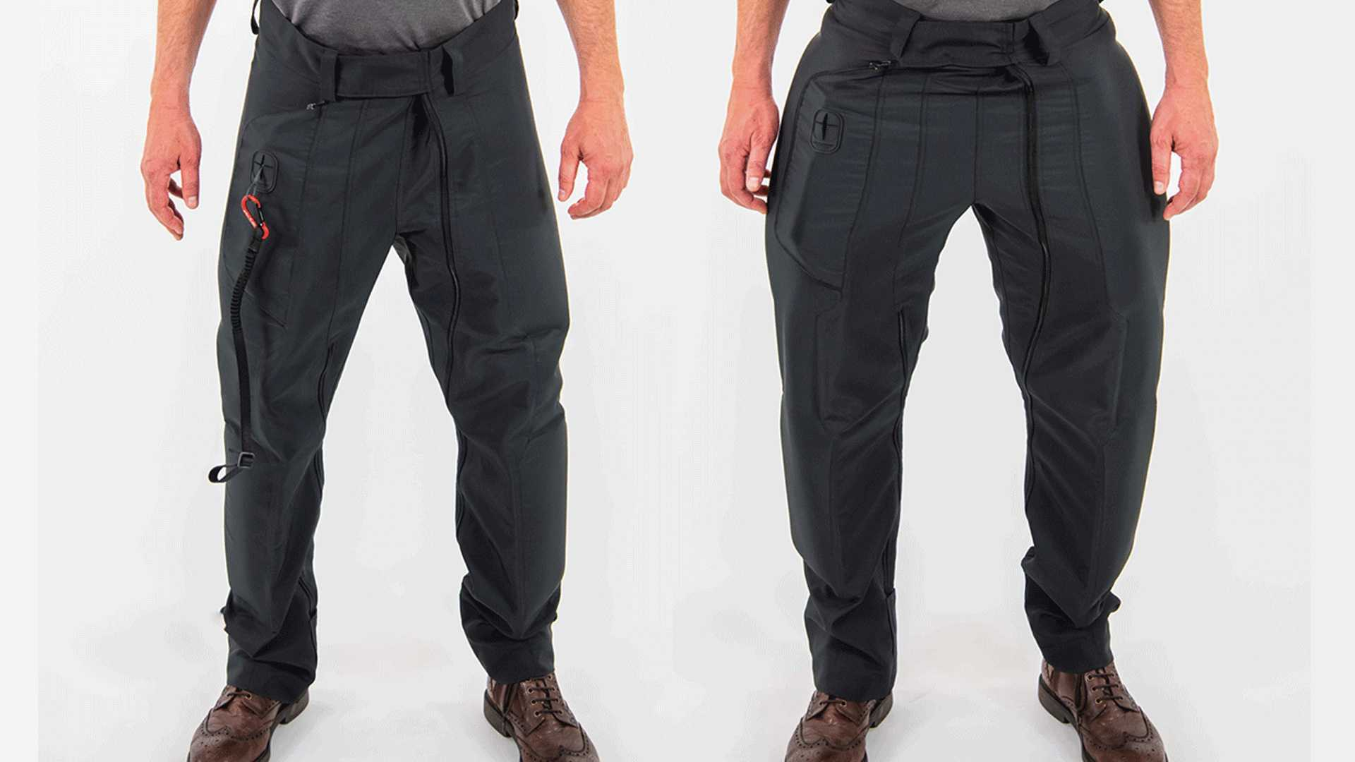 A front and rear view of the CX Free Rider airbag pants normal (left) and airbag deployed (right)