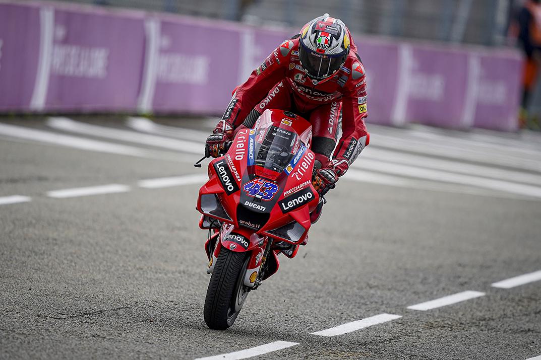 Australia MotoGP rider Jack Miller does a 'stoppie' on his Ducati race bike