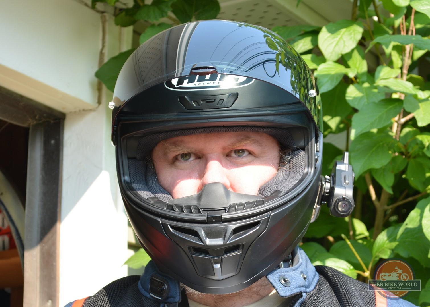 Front view of rider wearing HJC i10 helmet