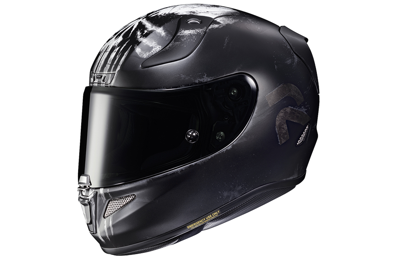 Side view of HJC RPHA 11 Pro Punisher helmet with tinted visor