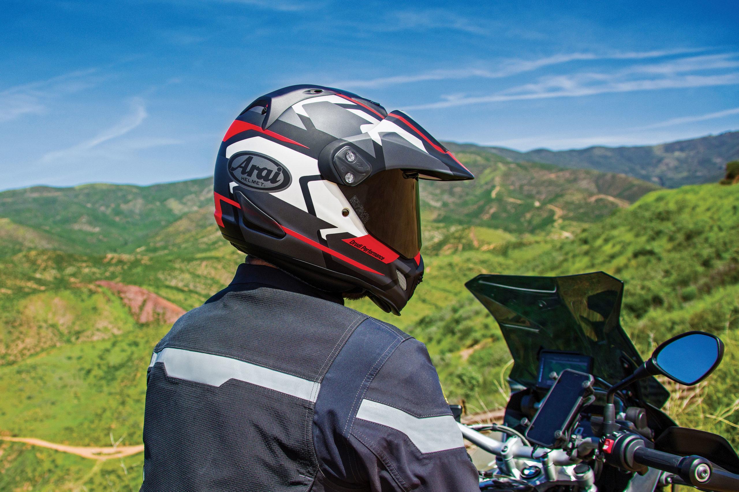 Rider wearing Arai XD4 helmet