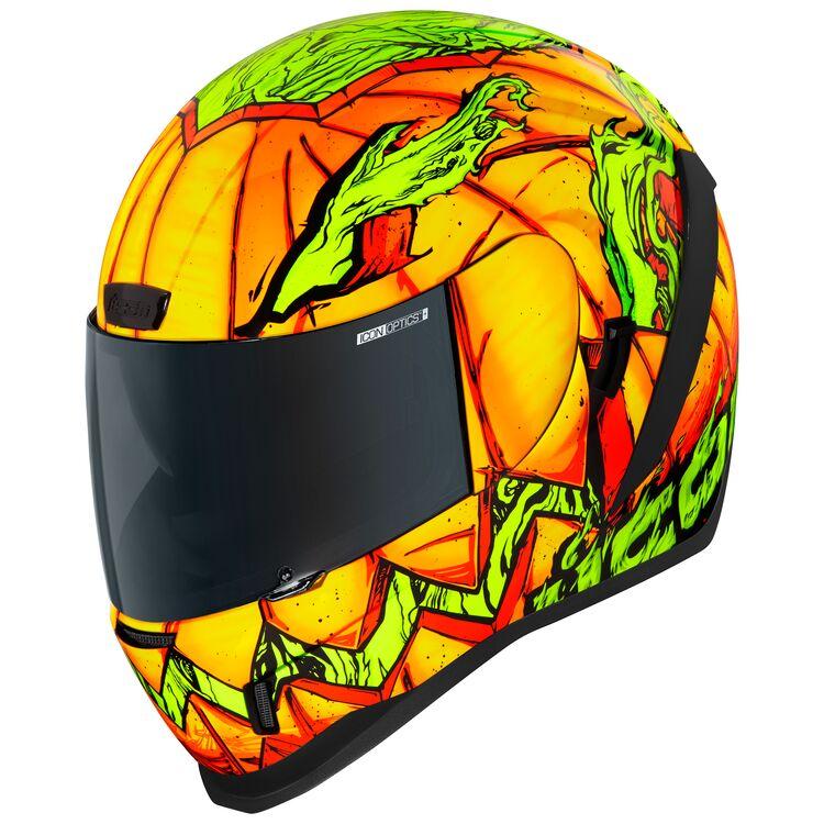 Icon Airform Trick or Street helmet with pumpkin design