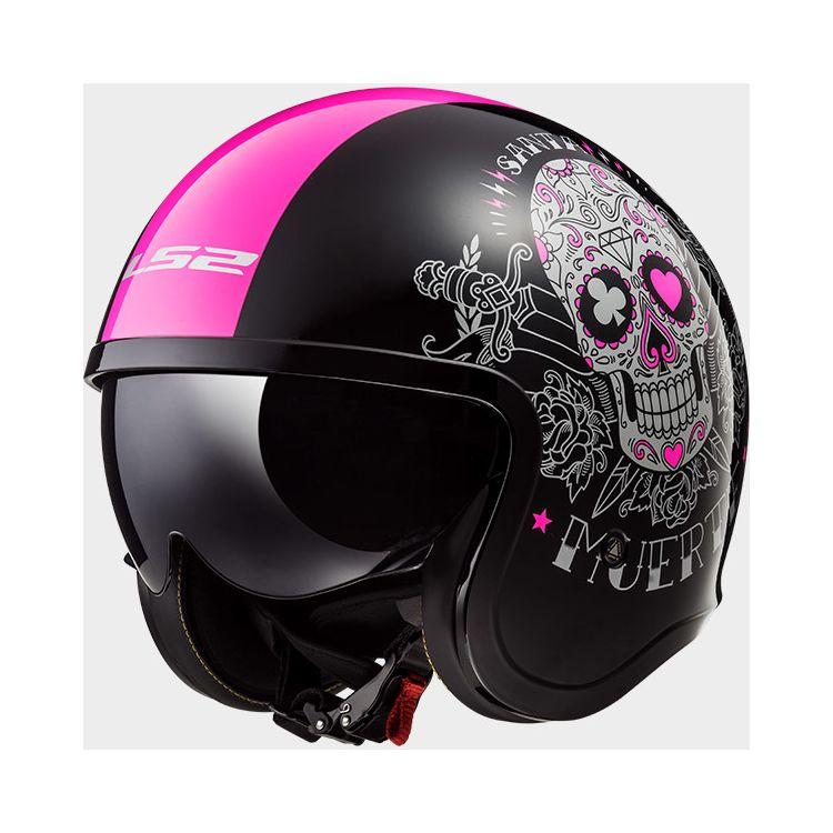 LS2 Spitfire Pink Muerte helmet with sugar skull design and pink stripe