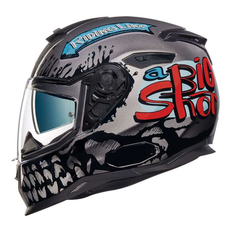 Side view of Nexx SX100 Big Shot helmet with skull teeth on face guard