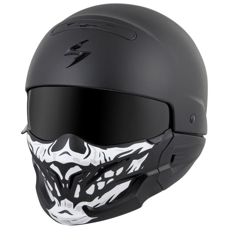 Black Scorpion EXO Covert X helmet with skull faceplate