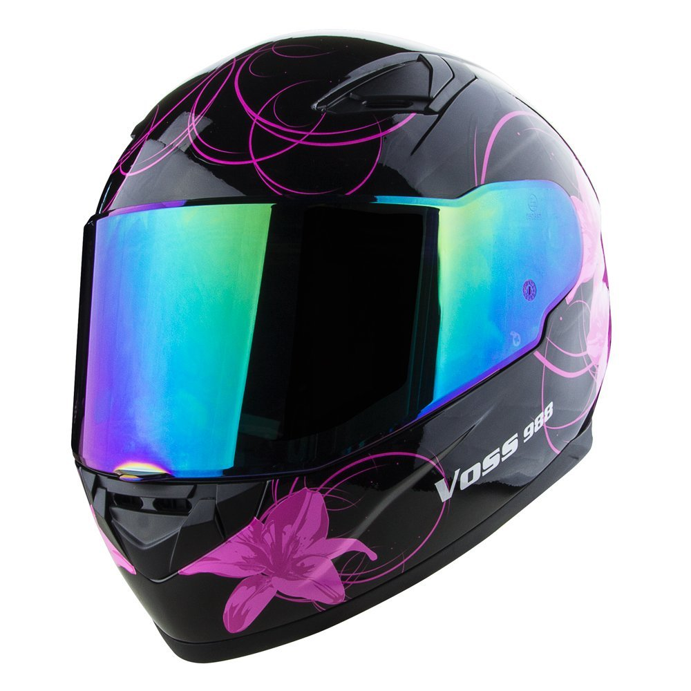 Voss 988 Moto 1 Lily Graphic Street Full Face Helmet With