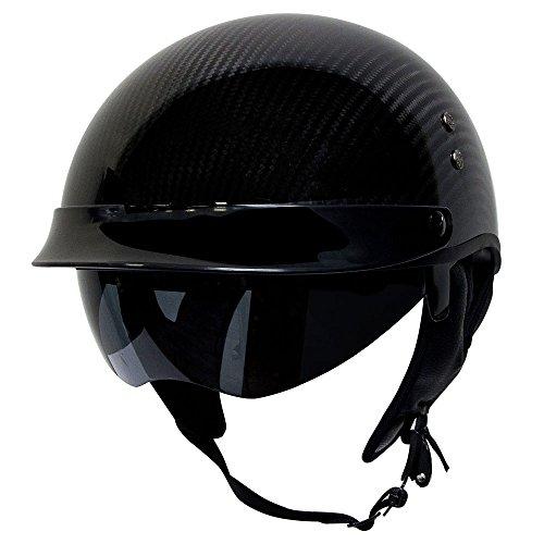 Voss 888cf Carbon Fibre Half Helmet With Drop Down Lens
