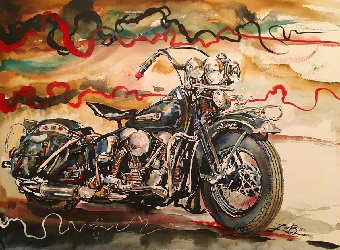 Badass Motorcycle Art By Leebullockart