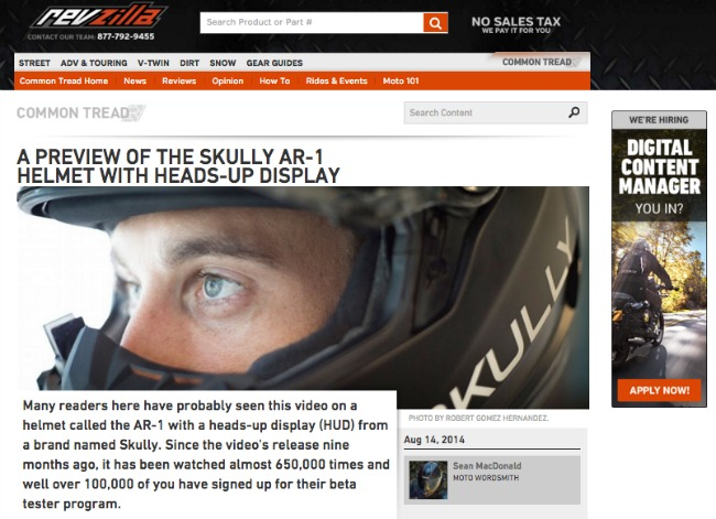 A preview of the Skully AR 1 helmet with heads up display RevZilla