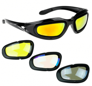 dcf84fe2a137 Polarized Motorcycle Riding Glasses Kit with Interchangeable Lenses