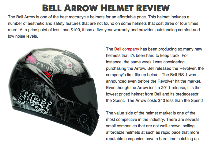 Bell Arrow Motorcycle Helmet Review