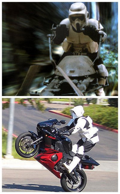 Biker Scout full gear now and then