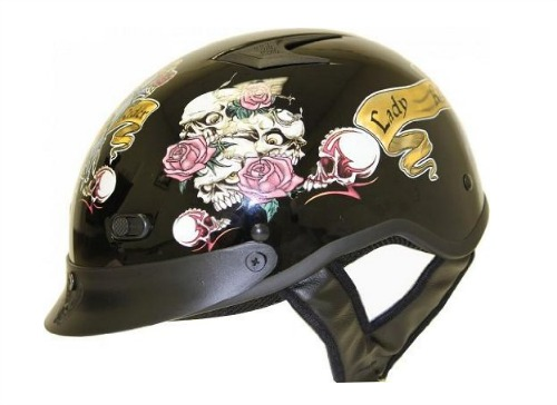 DOT LADY RIDER BLACK MOTORCYCLE HALF BEANIE HELMET