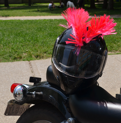 Double Pink Motorcycle helmet mohawks