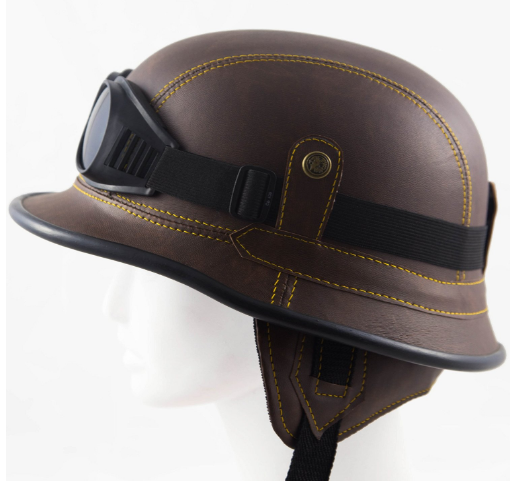 german-helmet-large-brown-novelty-ww2-half-skull-cap-for-men-women-use-for-motorcycle-chopper-biker-scooter-free-pair-of-riding-goggles
