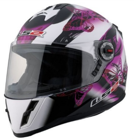 LS2 FF392 Junior Flutter Full Face Street Motorcycle Helmet Pink Black White