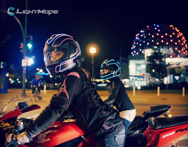 LightMode Electroluminescent Motorcycle Helmets on female riders