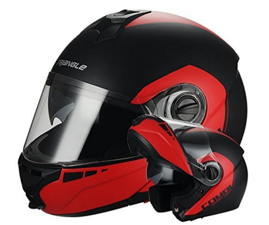 Matte Black Red Modular Dual Visor Flip Up Helmet by Triangle DOT