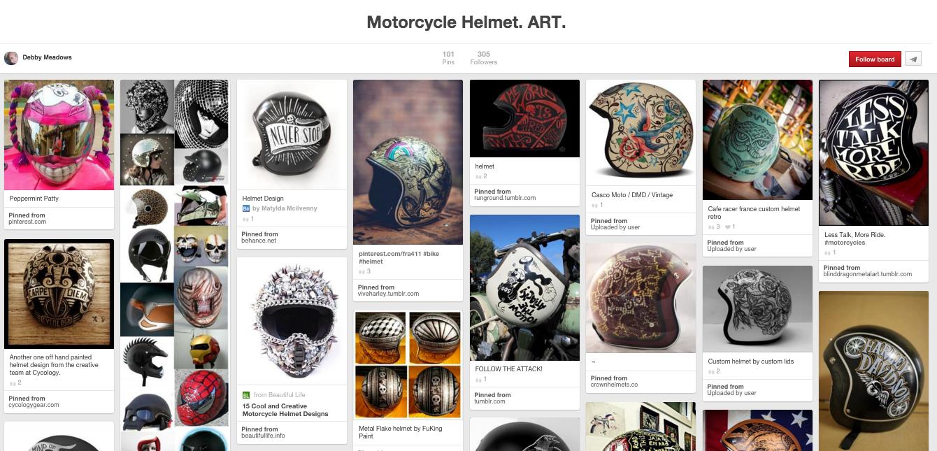 Motorcycle Helmet Art Board on Pinterest