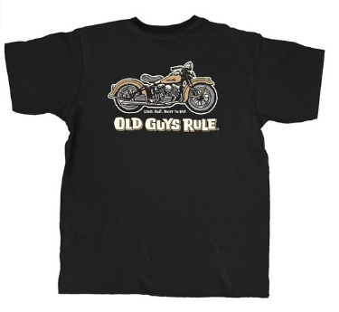 Old Guys Rule Men s Panhead T shirt Black Clothing