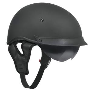 Outlaw Matte Black Dual-Visor Motorcycle Half DOT Helmet