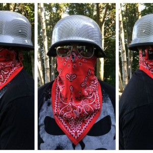 Savages bandana and German carbon fiber helmet