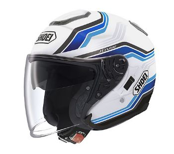 Shoei Solid J Cruise White and Blue Motorcycle Helmet