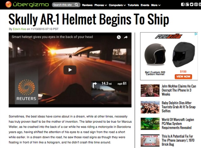 Skully AR 1 Helmet Begins To Ship Ubergizmo