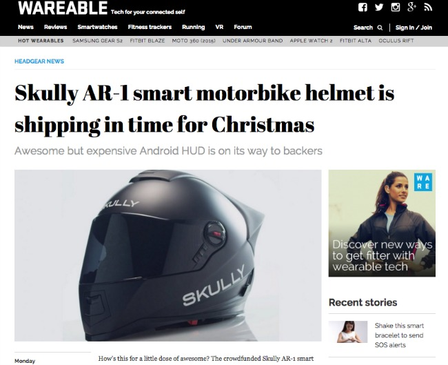 Skully AR 1 smart motorbike helmet is shipping in time for Christmas