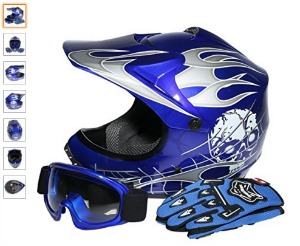 TCMT Dot Youth Kids Motocross Offroad Street Helmet Blue Skull Motorcycle Helmet Silver Dirt Bike Helmet Goggles gloves