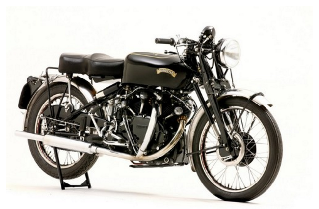 The legendary British classic black motorcycle