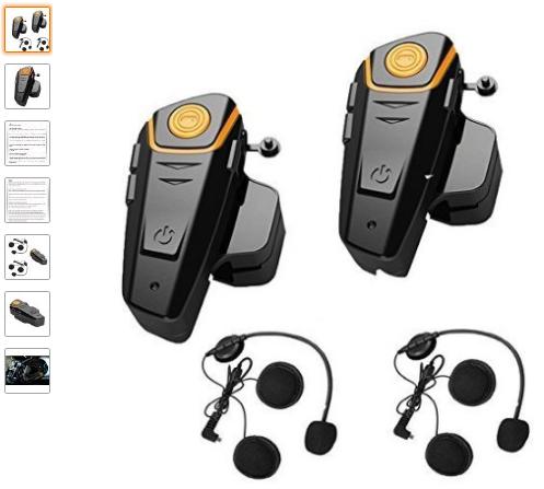 3c1eba0ad9b Veetop 2 x 800m Water Resistant Bluetooth Motorcycle Motorbike Helmet  Intercom Interphone Headset for 2 or