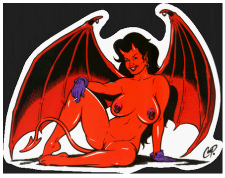 Voluptuous Devil Girl with Wings Sticker
