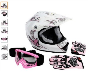 XFMT Youth Kids Motocross Offroad Street Dirt Bike Helmet Goggles Gloves Atv Mx Helmet Pink Butterfly