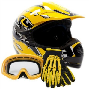 Youth Offroad Gear Combo Helmet Gloves Goggles DOT Motocross ATV Dirt Bike MX Motorcycle Yellow