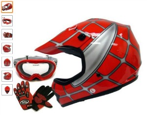 Youth Red Spider Net Dirt Bike Atv Motocross Helmet W goggles gloves