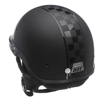 bell pit boss half helmet with checker stripe